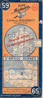 Carte Michelin Année 1948 Numéro 59, St Brieuc Rennes ,bon état. - Roadmaps