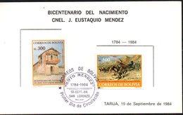 """Bolivia 1984. CEFIBOL 1214-15aT Tarjeta Oficial, Variedad Amarillo Desplazado Bicentenario """"Moto"""" Méndez. - Bolivie"""
