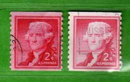 (Us2) USA °- 1954-1961 - Liberty 2 C. D.10 Vert. Unif. 845 + 845a Fosforo.   USED.  Vedi Descrizione - Stati Uniti