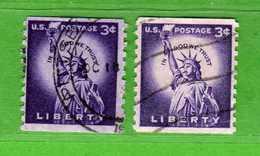 (Us2) USA °- 1954-1961 - Liberty 3 C. D.10 Vert. Unif. 847 + 847a Fosforo.   USED.  Vedi Descrizione - Stati Uniti