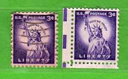 (Us2) USA °- 1954-1961 - Liberty 3 C. Unif. 823 + 823a Fosforo.   USED.  Vedi Descrizione - Stati Uniti