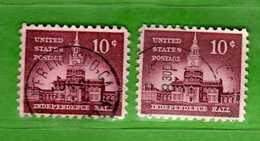 (Us2) USA °- 1954-1961 - Liberty 10 C. Unif. 833 + 833a. Fosforo.   USED.  Vedi Descrizione - Stati Uniti