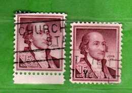 (Us2) USA °- 1954-1961 - Liberty 15 C. Unif. 836 + 836a. Fosforo.   USED.  Vedi Descrizione - Stati Uniti