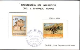 "Bolivia 1984. CEFIBOL 1214-15T Tarjeta Oficial Bicentenario José Eustaquio ""El Moto"" Méndez. - Bolivie"