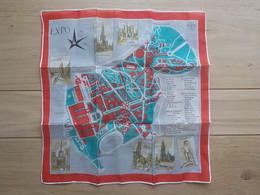Exposition Expo 1958 Foulard Fin Tissu Carte Plan De L'expo 33,5 X 33,5 Cm - Obj. 'Remember Of'