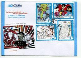 DERECHO A LA IDENTIDAD. SOBRE DIA DE EMISION ARGENTINA AÑO 2013 4 TIMBRES. ENVELOPE FDC 4 VALEURS - LILHU - Argentine