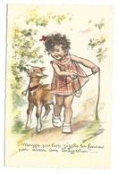 Germaine BOURET - Mange Pas Trop Zézette, Tu Finiras Pas Avoir Une Indigestion, Petite Fille Avec Une Chèvre - Bouret, Germaine