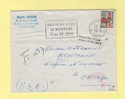 Coq De Decaris - Destination USA - Paris 1965 - Taxe 13 Cents - Postmark Collection (Covers)