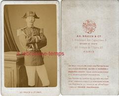 CDV à Voir- Officier-gendarme? Bicorne-grenades Sur Col-photo AD Braun à Paris - War, Military