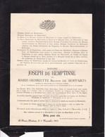 MARIAKERKE St-DENIS-WESTREM Marie-henriette Baronne De MOFFARTS épouse De HEMPTINNE 1851-1901 Château De STEPPE STEDE - Décès