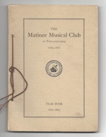 USA Philadelphia Pa Matinee Musical Club 1931-1935 Yearbook 101 Pages - Books, Magazines, Comics