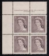 Canada 1951 MNH Sc O33 1c QEII Karsh G Overprint Plate 1 Upper Left Plate Block - Num. Planches & Inscriptions Marge