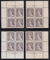 Canada 1951 MNH Sc O33 1c QEII Karsh G Overprint Plate 2 Set Of 4 Plate Blocks - Num. Planches & Inscriptions Marge