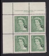 Canada 1951 MNH Sc O34 2c QEII Karsh G Overprint Plate 1 Upper Left Plate Block - Num. Planches & Inscriptions Marge