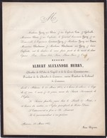 ANVERS Albert Alexandre HERRY Famille BEECKMANS Chambre De Commerce Décoré Croix Commémorative 57 Ans 1865 - Décès