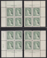 Canada 1951 MNH Sc O34 2c QEII Karsh G Overprint Plate 3 Set Of 4 Plate Blocks - Num. Planches & Inscriptions Marge