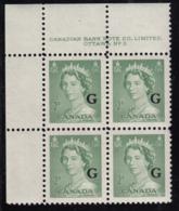 Canada 1951 MNH Sc O34 2c QEII Karsh G Overprint Plate 3 Upper Left Plate Block - Num. Planches & Inscriptions Marge