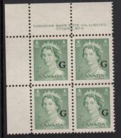 Canada 1951 MNH Sc O34 2c QEII Karsh G Overprint Plate 4 Upper Left Plate Block - Num. Planches & Inscriptions Marge
