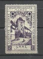 Germany Ca 1910 Freiwilliges Feuerwehr Sanitäts-Kolonne SAAZ Unterstützungsmarke Deutschböhmen * - Vignetten (Erinnophilie)