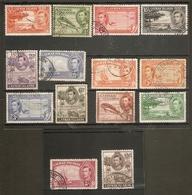CAYMAN ISLANDS 1938 - 1948 SET SG 115/126a FINE USED Cat £35 - Cayman Islands