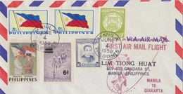 PHILIPPINES FDC 1959 First Flight MANILA To DJAKARTA.BARGAIN.!! - Filippijnen