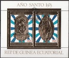 Bf. 199 Guinea Equatoriale 1975 Ano Anno Santo Gold Art Sheet CTO Perf. Ecuatorial - Guinea Equatoriale