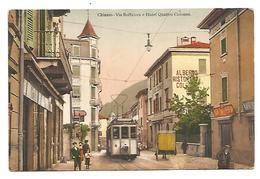 CARTOLINA DI CHIASSO ( CANTON TICINO ) VIA BOFFALORA E HOTEL QUATTRO COLONNE , 1913 . - TI Ticino