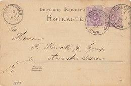 GERMANY 1887 Postcard With Cancellation BIELEFELD / AMSTERDAM.BARGAIN.!! - Duitsland