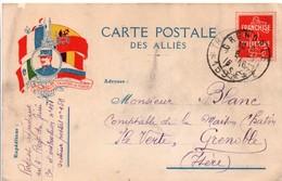 Carte Postale Des Alliés - Franchise Militaire Avec Pseudo Semeuse - Le Droit Vaincra La Force 1916 - Cartes De Franchise Militaire