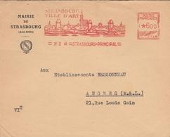 LSC 1948 Mairie De Strasbourg - EMA  20.II.48 STRASBOURG - STRASBOURG VILLE D'ART - EMA ( Maquina De Huellas A Franquear)