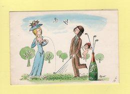 Peynet - Perrier Jouet - Carte Annoncant La Livraison De 12 Bouteilles De Champagne Brut Rose - 1976 - Peynet