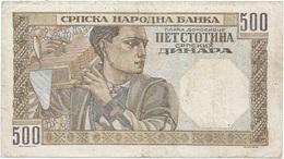 Serbia 500 Dinara 1-11-1941 Pk 27 B Ref 1274 - Serbia