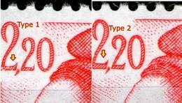 N° 2376**_2376a**_Type I Carmin_type II Rouge_phospho Jaune_papier ??? - 1982-90 Liberté De Gandon