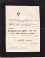 HEUSDEN HOUCHENEE Marie-Eugènie De MOFFARTS Veuve Robert HELIAS D'HUDDEGHEM 61 Ans 1896 TAVIER - Décès
