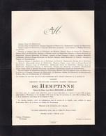 GAND WONDELGEM Ernest De HEMPTINNE époux Anne-Marie BEHAGHEL De BUEREN 1902-1932 Château D'HOUTKINNE - Décès
