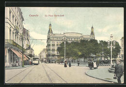 AK Ostende, La Place Marie-Josef Mit Strassenbahn - Tram