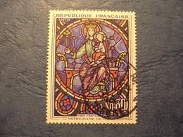 """1960-69- Timbre Oblitéré N°  1419   """"Thème Cathédrales : NOTRE DAME DE PARIS, Vitrail  """"      1 Euro     Photo   1 - France"""