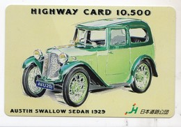 CARTE HIGHWAY PREPAID JAPON VOITURE AUSTIN SWALLOWSEDAN 1925 - Voitures