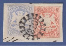 Bayern Wappen Hübsches Briefstück Mit 6 Kr. Und 18 Kr. Mi.-Nr. 16 Und 19 GMR 310 - Bavière