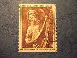 """1970-71- Timbre Oblitéré N° 1654  """" Thème  Cathédrales : Strasbourg    """"     0.80 - France"""