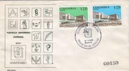 Lote 1267-8F, Colombia, 1973, SPD-FDC, 350 Años De La Universidad Javeriana, University, PI - Colombie
