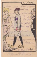A L'OPERA. HUMOR CPA CIRCULEE PAYSANDU A BUENOS AIRES 1904 SIGNEE FRANQUEO A COBRAR - BLEUP - Humor