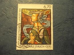 """1990-99- Timbre Oblitéré N° 3254  """" Thème  Cathédrales : Auch, Gers    """"     0.80 - France"""
