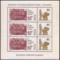 Poland 1971 Mi 2078 Bloc Of 3,  50 Years Of III Silesian Uprisings Monument Philatelic Exhibition Katowice MHN** W1176A - 1944-.... République
