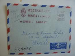 """Messageries Maritimes  CARGO """"INDUS """" Envoyé   DJIBOUTI 1963 Affranchissement  Machine  Poste Somalis   Avril 2019 Clas - Afars & Issas (1967-1977)"""