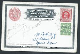 Venezuela 1930 'Uprated' With 1/2d KGV Of Great Britain Post Card Used As Ship Mail Per SS Darian To England By Cap Smye - Venezuela