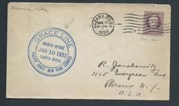 Cuba 1933 Ship Mail Cover To New York , Grace Line Santa Rosa Maiden Voyage Cachet - Cuba