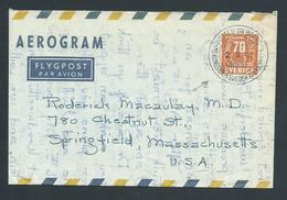 Sweden 1967 Aerogramme To USA Posted Aboard MS Kungsholm - Nice Commercial Item - Sweden
