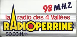 Autocollant - Radio Perrine - La Radio Des 4 Vallées 98 M.H.Z. - Autocollants
