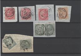Italia Regno ,6 Frammenti ,tutti D.L.R.tiratura Di Londra ,2 Sono Affrancature Di Fascette Per Giornali - 1861-78 Vittorio Emanuele II